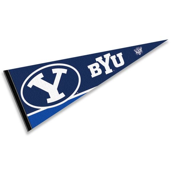 Brigham Young University Pennant consists of our full size sports pennant which measures 12x30 inches, is constructed of felt, is single sided imprinted, and offers a pennant sleeve for insertion of a pennant stick, if desired. This Brigham Young University Felt Pennant is officially licensed by the selected university and the NCAA.