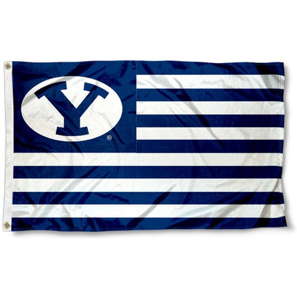Brigham Young University Striped Flag measures 3'x5', is made of polyester, offers double stitched flyends for durability, has two metal grommets, and is viewable from both sides with a reverse image on the opposite side. Our Brigham Young University Striped Flag is officially licensed by the selected school university and the NCAA.