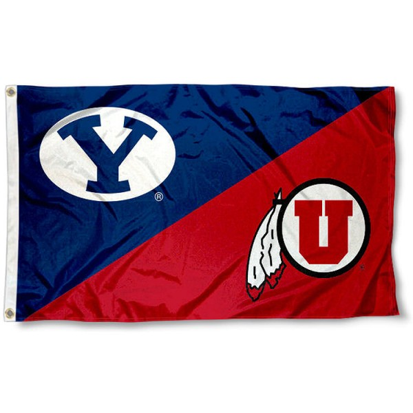 Brigham Young vs. Utah House Divided 3x5 Flag sizes at 3x5 feet, is made of 100% polyester, has quadruple-stitched fly ends, and the university logos are screen printed into the Brigham Young vs. Utah House Divided 3x5 Flag. The Brigham Young vs. Utah House Divided 3x5 Flag is approved by the NCAA and the selected universities.
