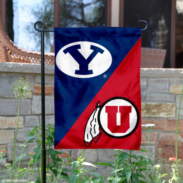 Brigham Young vs. Utah House Divided Garden Flag is 13x18 inches in size, is made of polyester, is double-sided, and offers screen printed university school logos. The Brigham Young vs. Utah House Divided Garden Flag is approved by the NCAA and the selected university.