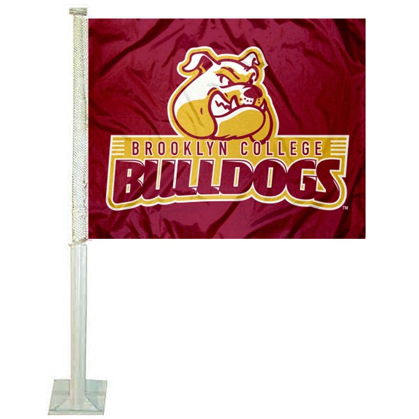 Brooklyn College Bulldogs Logo Car Flag measures 12x15 inches, is constructed of sturdy 2 ply polyester, and has screen printed school logos which are readable and viewable correctly on both sides. Brooklyn College Bulldogs Logo Car Flag is officially licensed by the NCAA and selected university.
