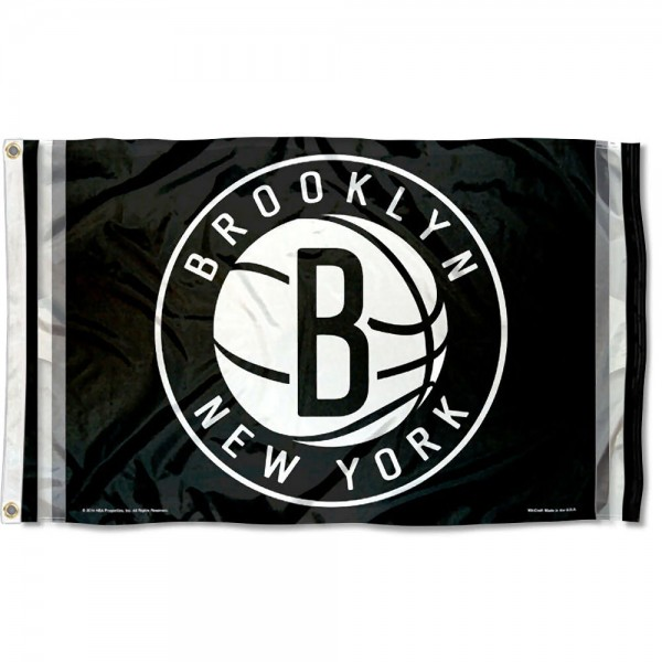 The Brooklyn Nets Black Team Flag is four-stitched bordered, double sided, made of poly, 3'x5', and has two grommets. These Brooklyn Nets Black Team Flags are NBA Genuine Merchandise.