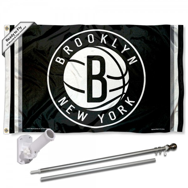 Our Brooklyn Nets Flag Pole and Bracket Kit includes the flag as shown and the recommended flagpole and flag bracket. The flag is made of polyester, has quad-stitched flyends, and the NBA Licensed team logos are double sided screen printed. The flagpole and bracket are made of rust proof aluminum and includes all hardware so this kit is ready to install and fly.