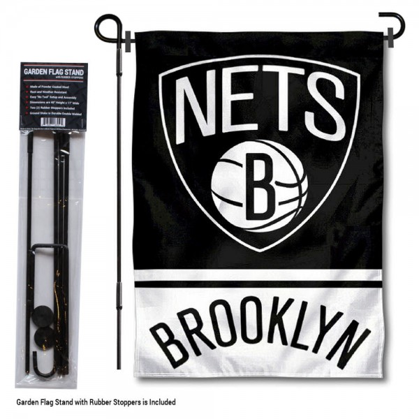 "Brooklyn Nets Garden Flag and Flagpole Stand kit includes our 12.5""x18"" garden banner which is made of 2 ply poly with liner and has screen printed licensed logos. Also, a 40""x17"" inch garden flag stand is included so your Brooklyn Nets Garden Flag and Flagpole Stand is ready to be displayed with no tools needed for setup. Fast Overnight Shipping is offered and the flag is Officially Licensed and Approved by the selected team."