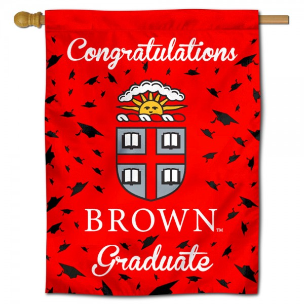 Brown Bears Congratulations Graduate Flag measures 30x40 inches, is made of poly, has a top hanging sleeve, and offers dye sublimated Brown Bears logos. This Decorative Brown Bears Congratulations Graduate House Flag is officially licensed by the NCAA.