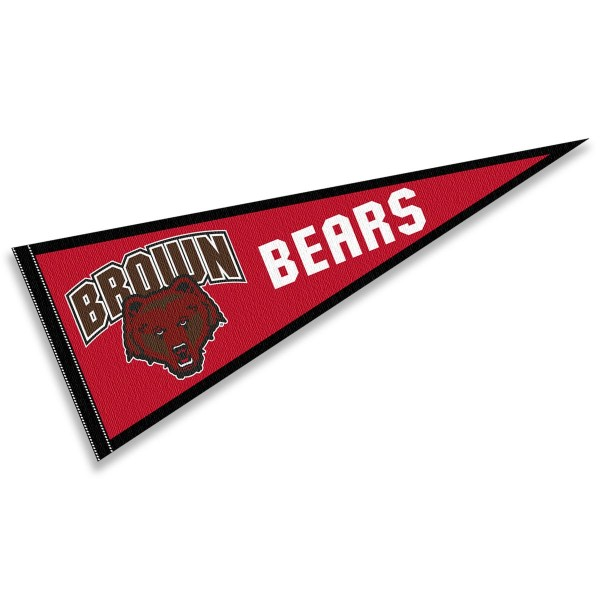 Brown Bears Pennant consists of our full size sports pennant which measures 12x30 inches, is constructed of felt, is single sided imprinted, and offers a pennant sleeve for insertion of a pennant stick, if desired. This Brown Bears Pennant Decorations is Officially Licensed by the selected university and the NCAA.