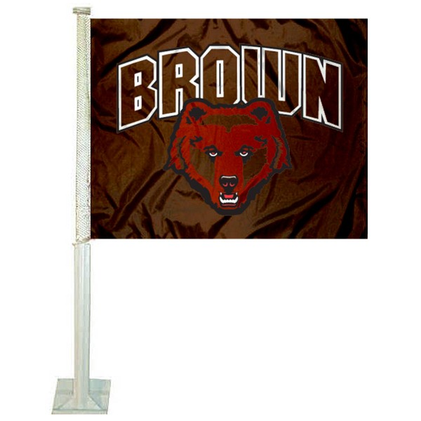Brown University Car Flag measures 12x15 inches, is constructed of sturdy 2 ply polyester, and has screen printed school logos which are readable and viewable correctly on both sides. Brown University Car Flag is officially licensed by the NCAA and selected university.
