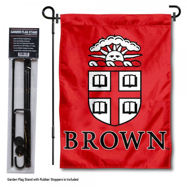 "Brown University Garden Flag and Stand kit includes our 13""x18"" garden banner which is made of 2 ply poly with liner and has screen printed licensed logos. Also, a 40""x17"" inch garden flag stand is included so your Brown University Garden Flag and Stand is ready to be displayed with no tools needed for setup. Fast Overnight Shipping is offered and the flag is Officially Licensed and Approved by the selected team."