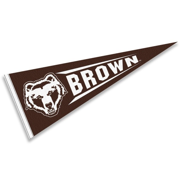 Brown University Pennant measures 12x30 inches, is made of wool, and the School logos are printed with raised lettering. Our Brown University Pennant is Officially Licensed and Approved by the University or Institution.