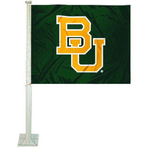 BU Bears Car Flag measures 12x15 inches, is constructed of sturdy 2 ply polyester, and has dye sublimated school logos which are readable and viewable correctly on both sides. Baylor Bears Car Flag is officially licensed by the NCAA and selected university.