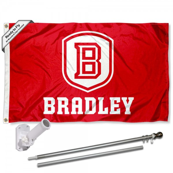 Our BU Braves Flag Pole and Bracket Kit includes the flag as shown and the recommended flagpole and flag bracket. The flag is made of polyester, has quad-stitched flyends, and the NCAA Licensed team logos are double sided screen printed. The flagpole and bracket are made of rust proof aluminum and includes all hardware so this kit is ready to install and fly.
