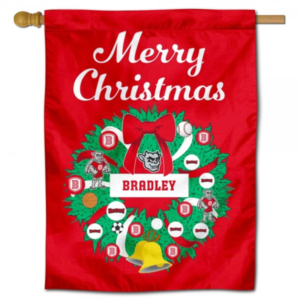 BU Braves Happy Holidays Banner Flag measures 30x40 inches, is made of poly, has a top hanging sleeve, and offers dye sublimated BU Braves logos. This Decorative BU Braves Happy Holidays Banner Flag is officially licensed by the NCAA.