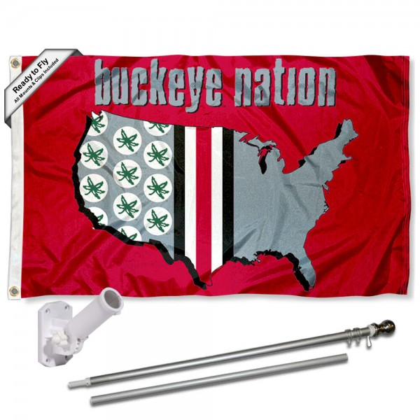 Our Buckeyes Nation Flag Pole and Bracket Kit includes the flag as shown and the recommended flagpole and flag bracket. The flag is made of nylon, has quad-stitched flyends, and the NCAA Licensed team logos are double sided screen printed. The flagpole and bracket are made of rust proof aluminum and includes all hardware so this kit is ready to install and fly.