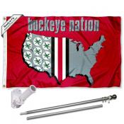 Buckeyes Nation Flag Pole and Bracket Kit