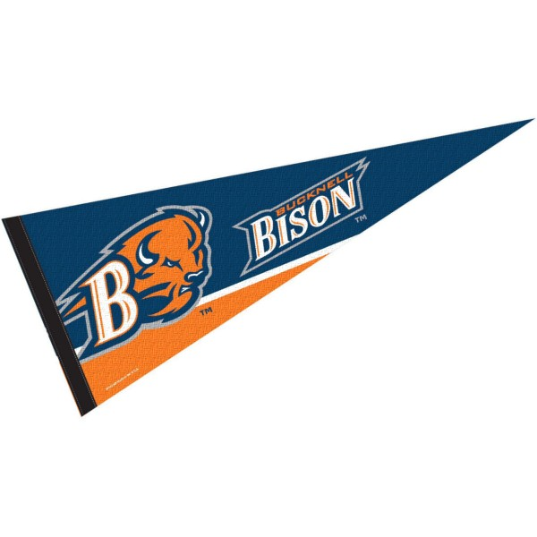 Bucknell Pennant consists of our full size sports pennant which measures 12x30 inches, is constructed of felt, is single sided imprinted, and offers a pennant sleeve for insertion of a pennant stick, if desired. This Bucknell University Felt Pennant is officially licensed by the selected university and the NCAA.
