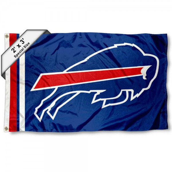 Buffalo Bills 2x3 Feet Flag measures 2'x3', is made polyester, has quadruple stitched flyends, two metal grommets, and offers screen printed NFL Buffalo Bills logos and insignias. Our Buffalo Bills 2x3 Foot Flag is NFL Officially Licensed and approved.