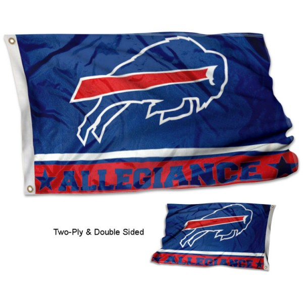 Buffalo Bills Allegiance Flag measures 3'x5', is made of 2-ply double sided polyester with liner, has quadruple stitched sewing, two metal grommets, and has two sided team logos. Our Buffalo Bills Allegiance Flag is officially licensed by the selected team and the NFL and is available with overnight express shipping.