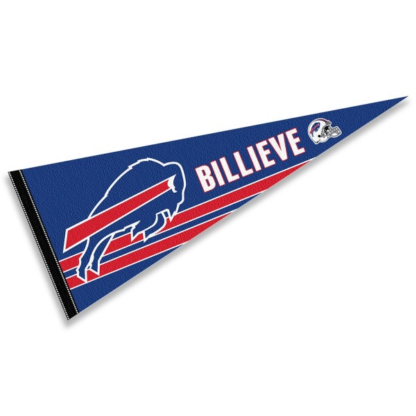 This Buffalo Bills Billieve Pennant is 12x30 inches, is made of premium felt blends, has a pennant stick sleeve, and the team logos are single sided screen printed. Our Buffalo Bills Billieve Pennant is NFL Officially Licensed.