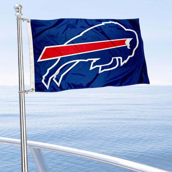 "Our Buffalo Bills Boat and Nautical Flag is 12""x18"", made of three-ply poly, has a solid header with two metal grommets, and is double sided. This Boat and Nautical Flag for Buffalo Bills is Officially Licensed by the NFL and can also be used as a motorcycle flag, boat flag, golf cart flag, or recreational flag."