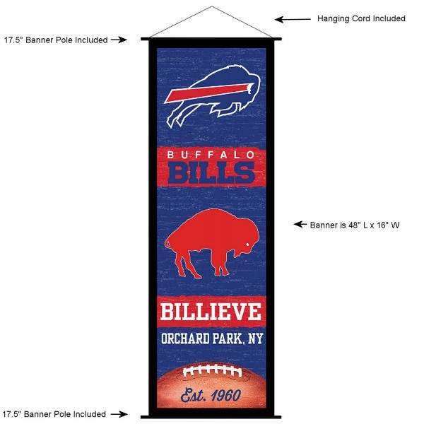 """This """"ready to hang"""" Buffalo Bills Decor and Banner is made of polyester material, measures a large 17.5"""" x 48"""", offers screen printed athletic logos, and includes both top and bottom 3/4"""" diameter plastic banner poles and hanging cord. Our Buffalo Bills D�cor and Banner is Officially Licensed by the selected team and NFL."""