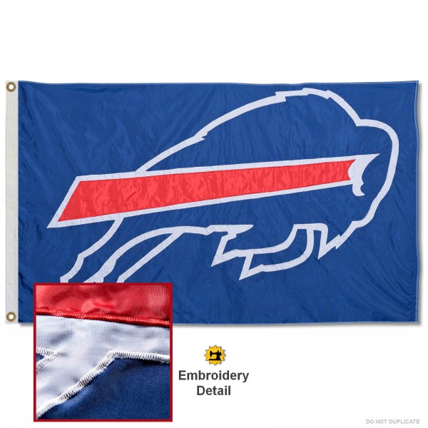 This Buffalo Bills Embroidered Nylon Flag is double sided, made of nylon, 3'x5', has two metal grommets, indoor or outdoor, and four-stitched fly ends. These Buffalo Bills Embroidered Nylon Flags are Officially Approved the Buffalo Bills and NFL.