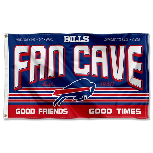 Our Buffalo Bills Fan Cave Flag Large Banner is double sided, made of poly, 3'x5', has two metal grommets, indoor or outdoor, and four-stitched fly ends. These Buffalo Bills Fan Cave Flag Large Banners are Officially Approved by the Buffalo Bills.