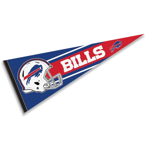 This Buffalo Bills Football Pennant measures 12x30 inches, is constructed of felt, and is single sided screen printed with the Buffalo Bills logo and helmets. This Buffalo Bills Football Pennant is a NFL Officially Licensed product.