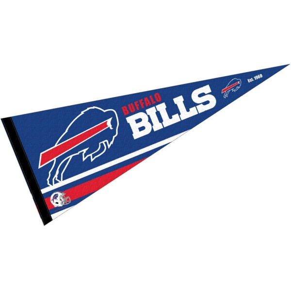 This Buffalo Bills Full Size Pennant is 12x30 inches, is made of premium felt blends, has a pennant stick sleeve, and the team logos are single sided screen printed. Our Buffalo Bills Full Size Pennant is NFL Officially Licensed.
