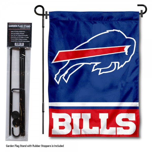 "Buffalo Bills Garden Flag and Stand kit includes our 13""x18"" garden banner which is made of 2 ply poly with liner and has screen printed licensed logos. Also, a 40""x17"" inch garden flag stand is included so your Buffalo Bills Garden Flag and Stand is ready to be displayed with no tools needed for setup. Fast Overnight Shipping is offered and the flag is Officially Licensed and Approved by the selected team."