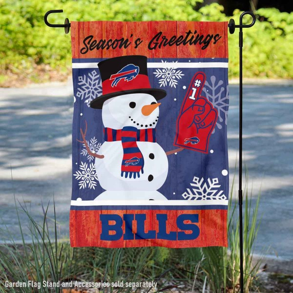 Buffalo Bills Holiday Winter Snow Double Sided Garden Flag is 12.5x18 inches in size, is made of 2-ply polyester, and has two sided screen printed logos and lettering. Available with Express Next Day Ship, our Buffalo Bills Holiday Winter Snow Double Sided Garden Flag is NFL Officially Licensed and is double sided.