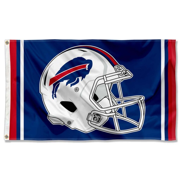 Our Buffalo Bills New Helmet Flag is two sided, made of poly, 3'x5', Overnight Shipping, has two metal grommets, indoor or outdoor, and four-stitched fly ends. These Buffalo Bills New Helmet Flags are Officially Approved by the Buffalo Bills.