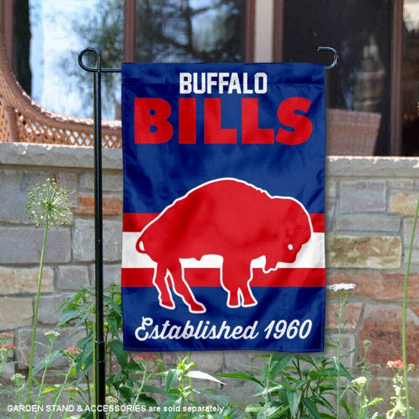 Buffalo Bills Throwback Logo Double Sided Garden Flag Flag is 12.5x18 inches in size, is made of 2-ply polyester, and has two sided screen printed logos and lettering. Available with Express Next Day Ship, our Buffalo Bills Throwback Logo Double Sided Garden Flag Flag is NFL Officially Licensed and is double sided.