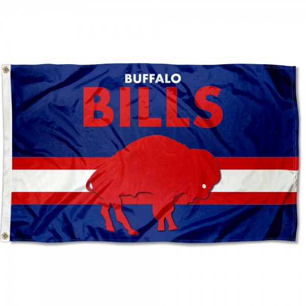 Our Buffalo Bills Throwback Retro Vintage Logo Flag is double sided, made of poly, 3'x5', has two metal grommets, indoor or outdoor, and four-stitched fly ends. These Buffalo Bills Throwback Retro Vintage Logo Flags are Officially Approved by the Buffalo Bills.
