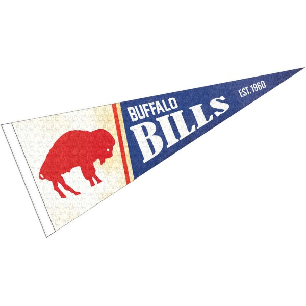 This Buffalo Bills Throwback Vintage Retro Pennant is 12x30 inches, is made of premium felt blends, has a pennant stick sleeve, and the team logos are single sided screen printed. Our Buffalo Bills Throwback Vintage Retro Pennant is NFL Officially Licensed.