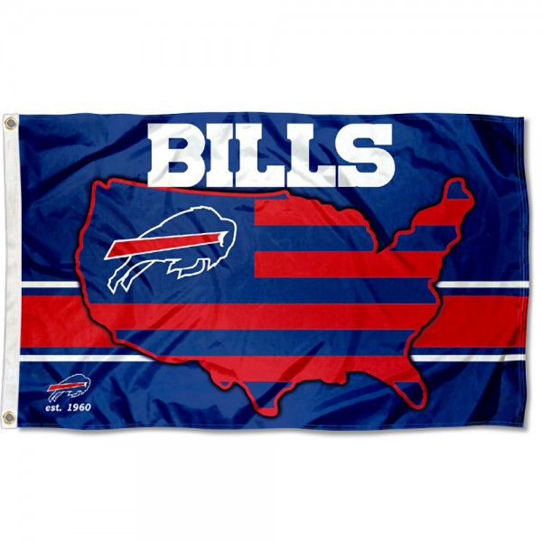 Our Buffalo Bills USA Country Flag is double sided, made of poly, 3'x5', has two metal grommets, indoor or outdoor, and four-stitched fly ends. These Buffalo Bills USA Country Flags are Officially Approved by the Buffalo Bills.