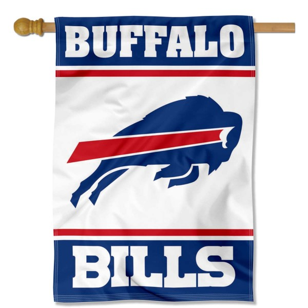 Buffalo Bills White Double Sided House Banner is screen printed with Buffalo Bills logos, is made of 2-ply 100% polyester, and is two sided and double sided. Our banners measure 28x40 inches and hang vertically with a top pole sleeve to insert your banner pole or flagpole.