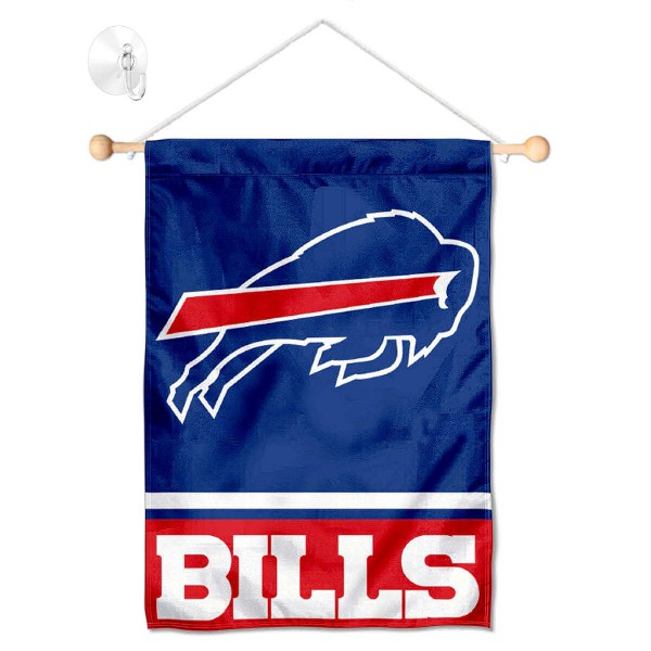 "Buffalo Bills Window and Wall Banner kit includes our 12.5""x18"" garden banner which is made of 2 ply poly with liner and has screen printed licensed logos. Also, a 17"" wide banner pole with suction cup is included so your Buffalo Bills Window and Wall Banner is ready to be displayed with no tools needed for setup. Fast Overnight Shipping is offered and the flag is Officially Licensed and Approved by the selected team."