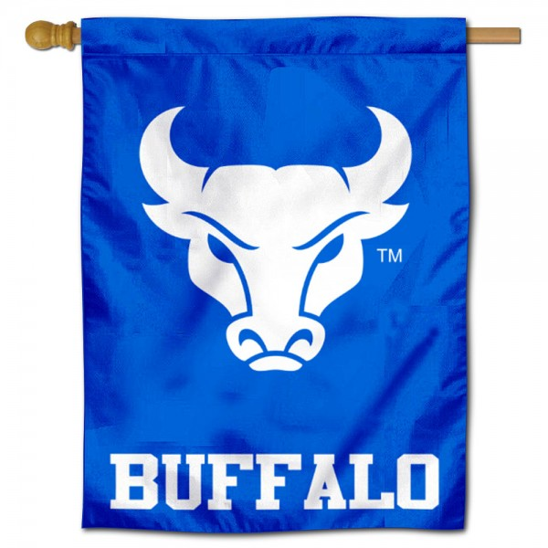 "Buffalo Bulls Blue Logo Banner Flag is constructed of polyester material, is a vertical house flag, measures 30""x40"", offers screen printed athletic insignias, and has a top pole sleeve to hang vertically. Our Buffalo Bulls Blue Logo Banner Flag is Officially Licensed by Buffalo Bulls and NCAA."