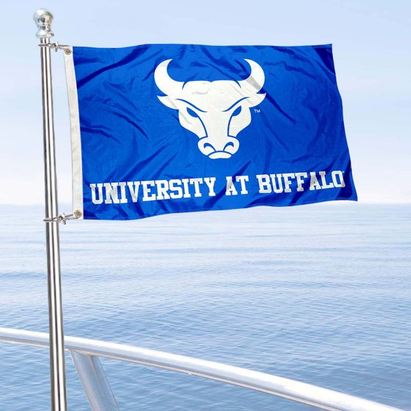 Buffalo Bulls Boat and Mini Flag is 12x18 inches, polyester, offers quadruple stitched flyends for durability, has two metal grommets, and is double sided. Our mini flags for Buffalo Bulls are licensed by the university and NCAA and can be used as a boat flag, motorcycle flag, golf cart flag, or ATV flag.