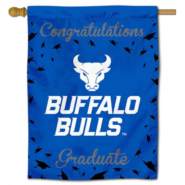 Buffalo Bulls Congratulations Graduate Flag measures 30x40 inches, is made of poly, has a top hanging sleeve, and offers dye sublimated Buffalo Bulls logos. This Decorative Buffalo Bulls Congratulations Graduate House Flag is officially licensed by the NCAA.