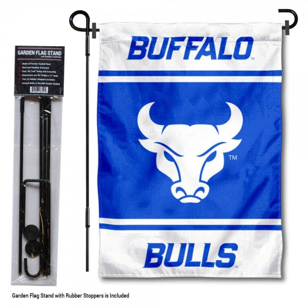 """Buffalo Bulls Garden Flag and Pole Stand Holder kit includes our 13""""x18"""" garden banner which is made of 2 ply poly with liner and has screen printed licensed logos. Also, a 40""""x17"""" inch garden flag stand is included so your Buffalo Bulls Garden Flag and Pole Stand Holder is ready to be displayed with no tools needed for setup. Fast Overnight Shipping is offered and the flag is Officially Licensed and Approved by the selected team."""