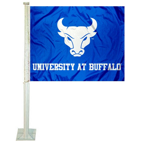 Buffalo Bulls Logo Car Flag measures 12x15 inches, is constructed of sturdy 2 ply polyester, and has screen printed school logos which are readable and viewable correctly on both sides. Buffalo Bulls Logo Car Flag is officially licensed by the NCAA and selected university.