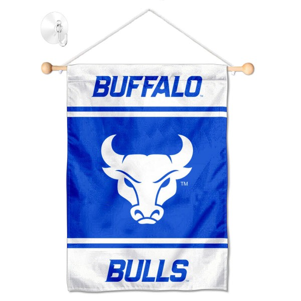 "Buffalo Bulls Window and Wall Banner kit includes our 13""x18"" garden banner which is made of 2 ply poly with liner and has screen printed licensed logos. Also, a 17"" wide banner pole with suction cup is included so your Buffalo Bulls Window and Wall Banner is ready to be displayed with no tools needed for setup. Fast Overnight Shipping is offered and the flag is Officially Licensed and Approved by the selected team."