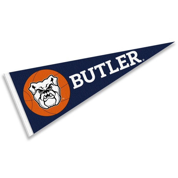 Butler Bulldogs Basketball Pennant consists of our full size sports pennant which measures 12x30 inches, is constructed of felt, is single sided imprinted, and offers a pennant sleeve for insertion of a pennant stick, if desired. This Butler Bulldogs Pennant Decorations is Officially Licensed by the selected university and the NCAA.
