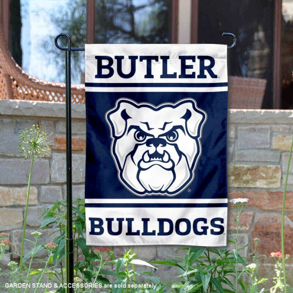 Butler Bulldogs Garden Flag is 13x18 inches in size, is made of 2-layer polyester, screen printed logos and lettering. Available with Same Day Express Shipping, Our Butler Bulldogs Garden Flag is officially licensed and approved by the NCAA.