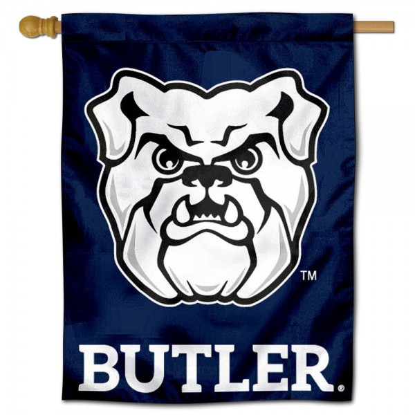 "Butler Bulldogs New Logo Banner Flag is constructed of polyester material, is a vertical house flag, measures 30""x40"", offers screen printed athletic insignias, and has a top pole sleeve to hang vertically. Our Butler Bulldogs New Logo Banner Flag is Officially Licensed by Butler Bulldogs and NCAA."