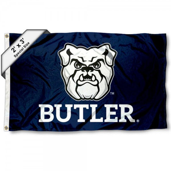 Butler Bulldogs Small 2'x3' Flag measures 2x3 feet, is made of 100% polyester, offers quadruple stitched flyends, has two brass grommets, and offers printed Butler Bulldogs logos, letters, and insignias. Our 2x3 foot flag is Officially Licensed by the selected university.