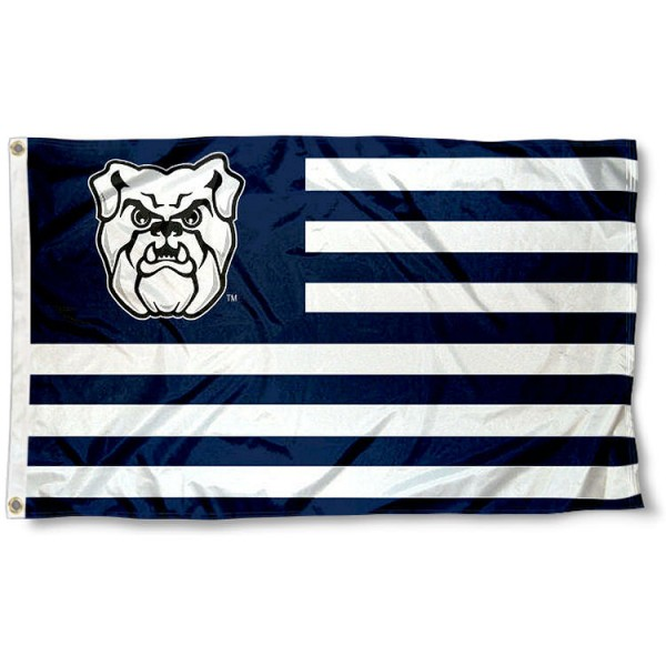 Butler Bulldogs Stripes Flag measures 3'x5', is made of polyester, offers double stitched flyends for durability, has two metal grommets, and is viewable from both sides with a reverse image on the opposite side. Our Butler Bulldogs Stripes Flag is officially licensed by the selected school university and the NCAA.