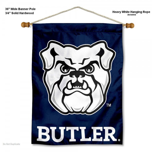 "Butler Bulldogs Wall Banner is constructed of polyester material, measures a large 30""x40"", offers screen printed athletic logos, and includes a sturdy 3/4"" diameter and 36"" wide banner pole and hanging cord. Our Butler Bulldogs Wall Banner is Officially Licensed by the selected college and NCAA."