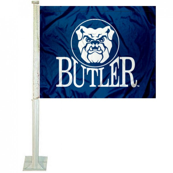 Butler University Bulldogs Car Flag measures 12x15 inches, is constructed of sturdy 2 ply polyester, and has dye sublimated school logos which are readable and viewable correctly on both sides. Butler University Bulldogs Car Flag is officially licensed by the NCAA and selected university.